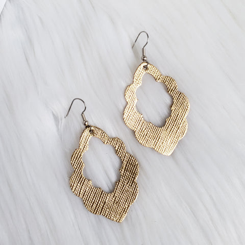 Textured Gold Leather Scalloped Earrings