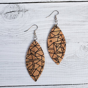 Geometric Cork - Leather Petal Earrings