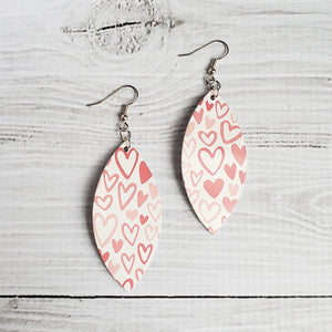 Light Pink Hearts Leather Petal Earrings