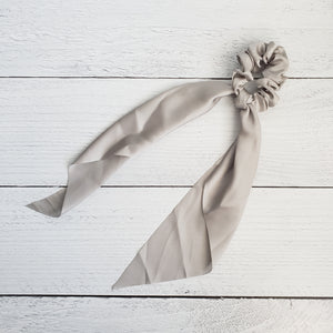 Grey Satin Hair Scarf