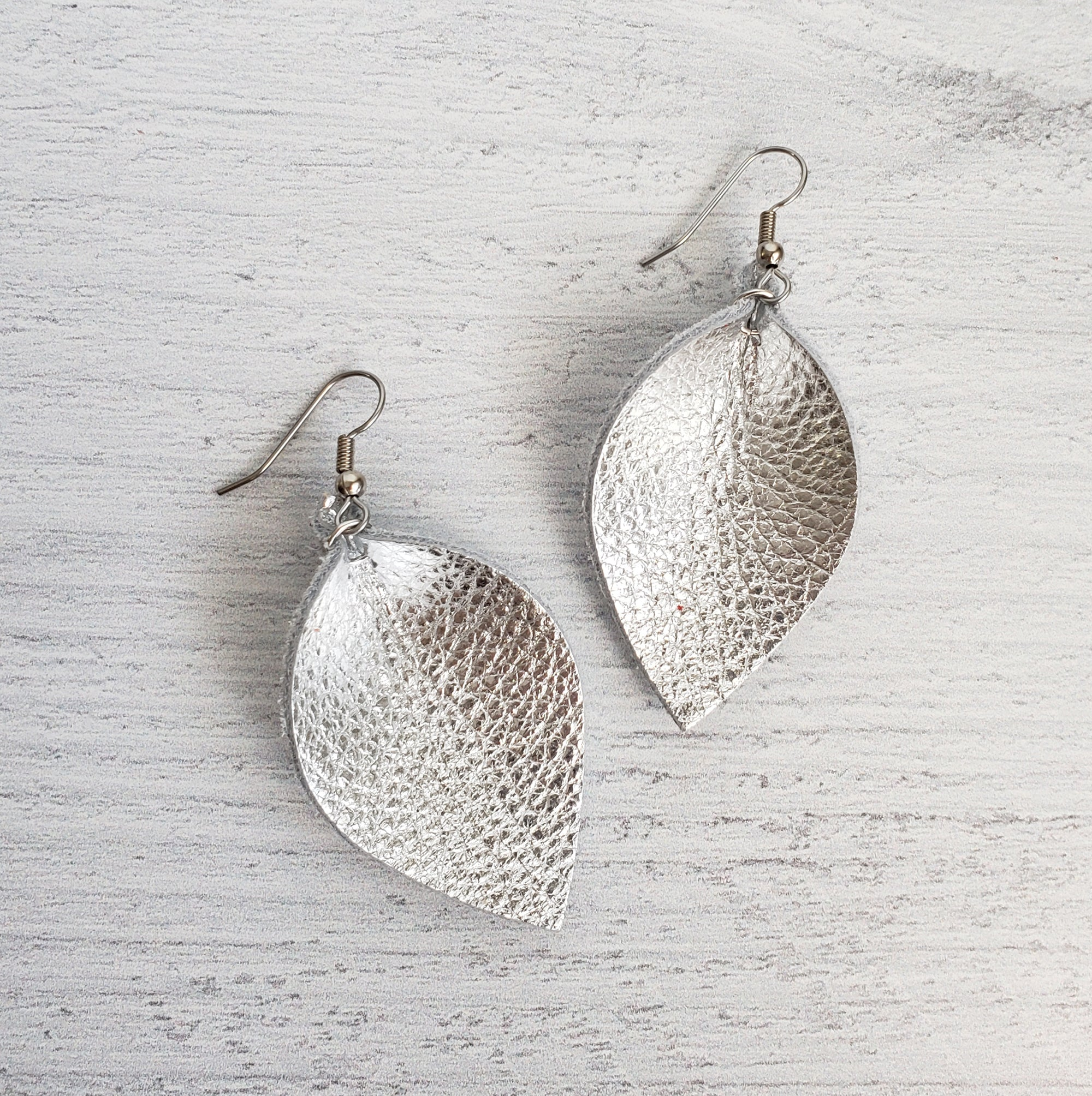Mini Silver Leaf Earrings