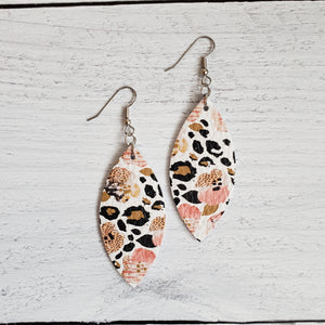 Leopard Pansies Leather Petal Earrings