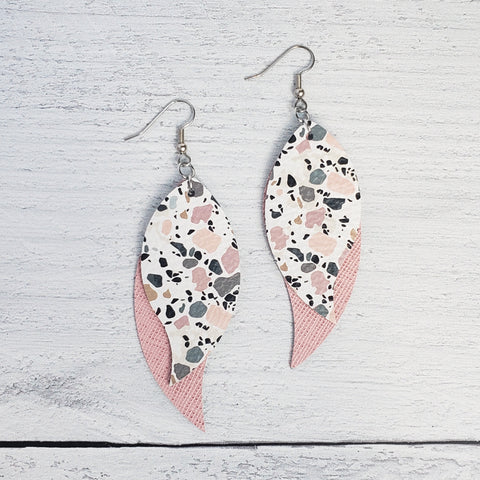 Pink Pebbled Triple Petal Earrings