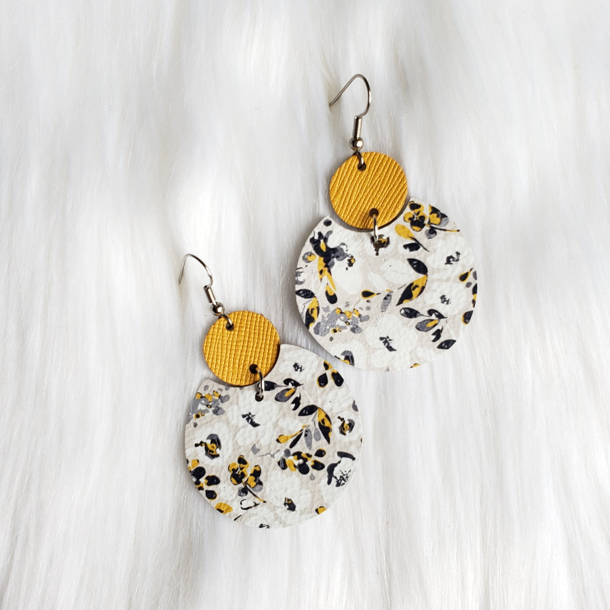 Mustard Floral Semi Circle Leather Earrings