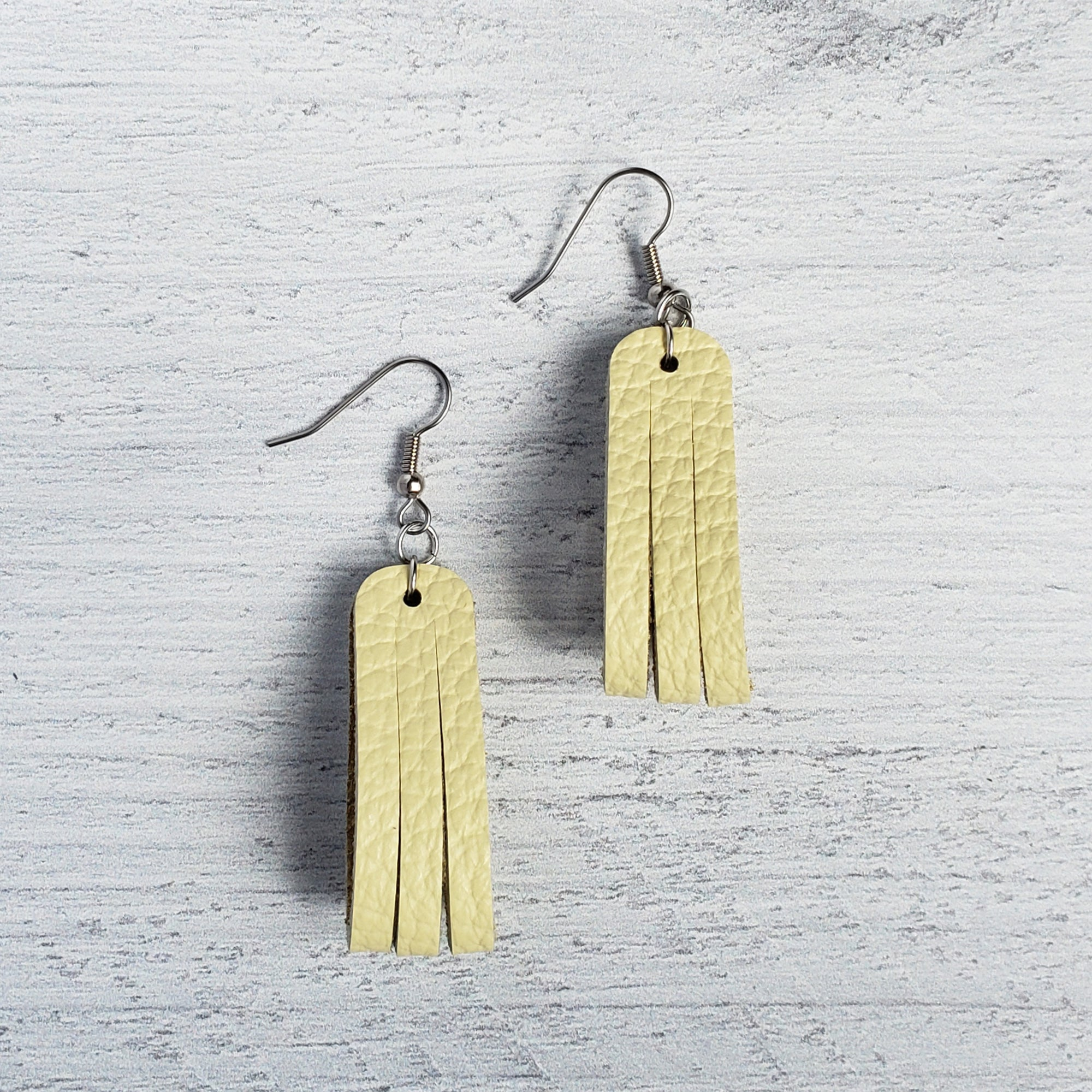 Montana Yellow Mini Sliced Leather Earrings