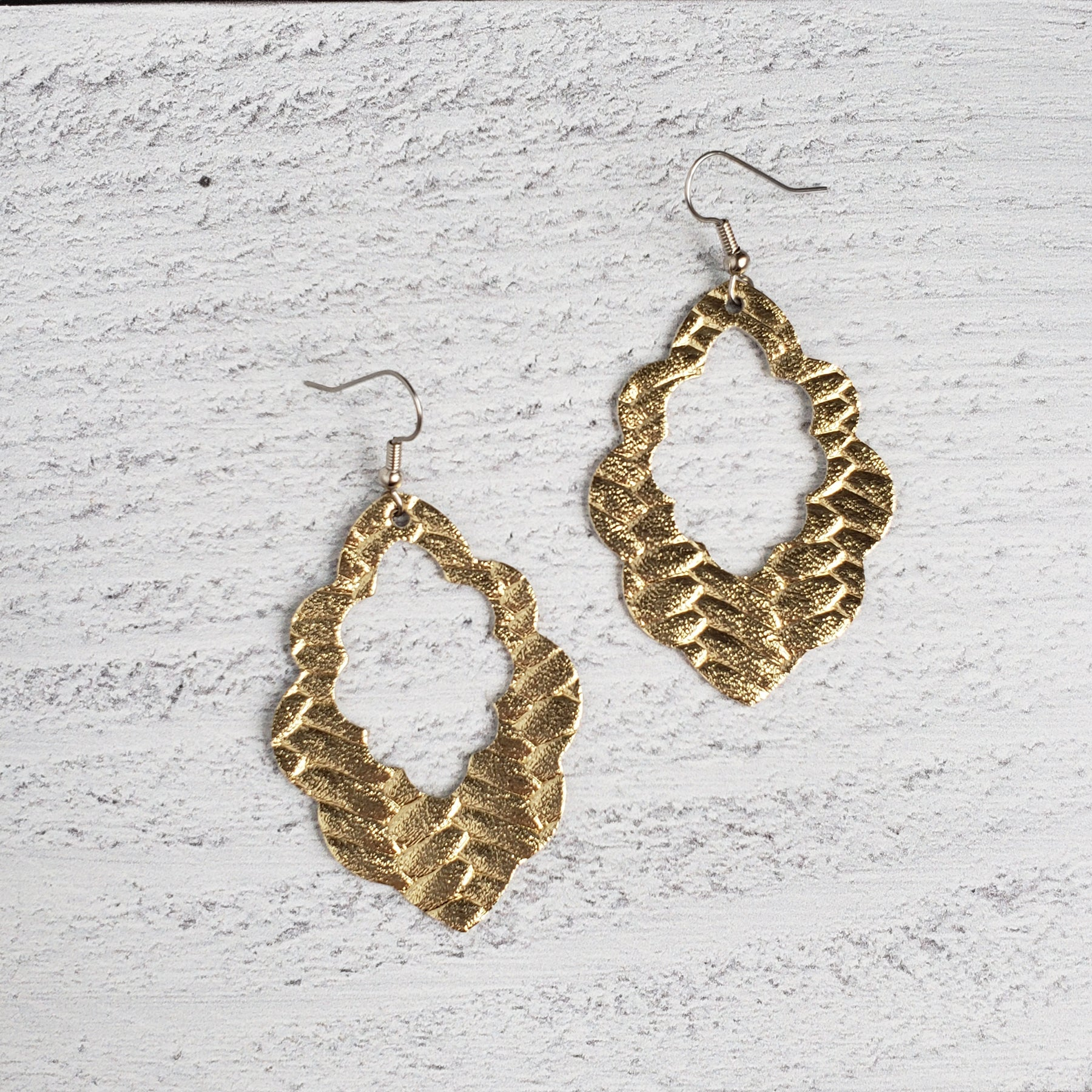 Gold Woven Leather Scalloped Earrings