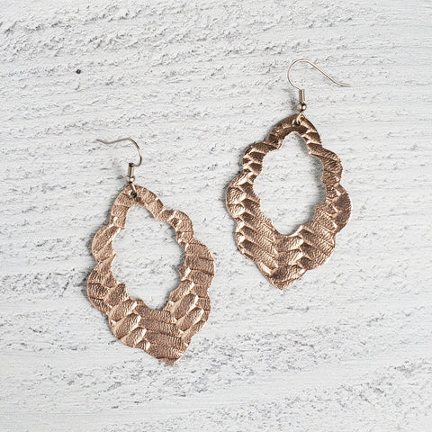 Rose Gold Woven Scalloped Leather Earrings