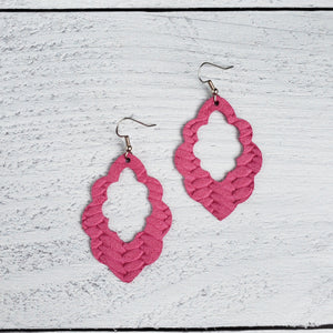 Hot Pink Woven Scalloped Leather Earrings