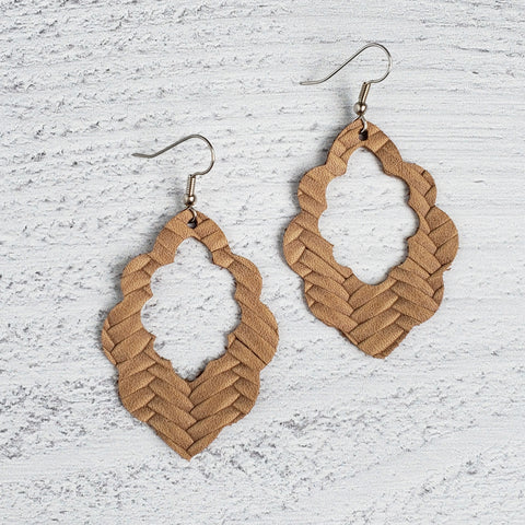 Light Tan Woven Scalloped Leather Earrings