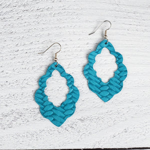 Teal Woven Scalloped Leather Earrings