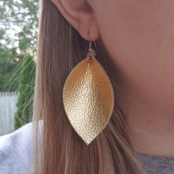 Pink Mini Honeycomb Leather Leaf Earrings