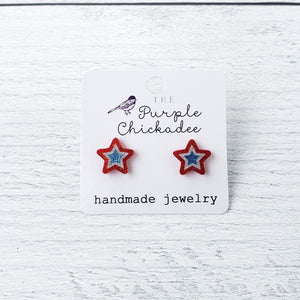 Red, White, & Blue Stars Acrylic Earrings - Titanium Hypoallergenic