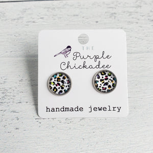 12mm White Rainbow Leopard Stud Earrings