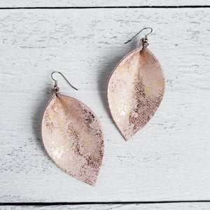 Pink Gold Dust Leather Leaf Earrings