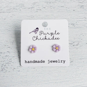 Mini Lavender Daisy Acrylic Earrings - Titanium Hypoallergenic