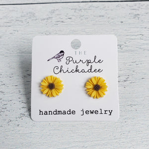 Sunflower Acrylic Earrings - Titanium Hypoallergenic