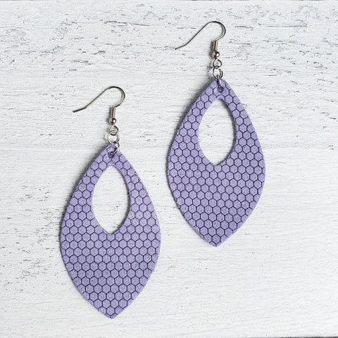 Periwinkle Honeycomb Leather Open Teardrop Earrings