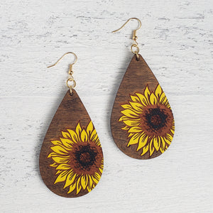Hand Painted Wooden Sunflower Drop Earrings
