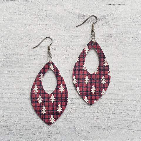 Buffalo Plaid Trees Leather Open Teardrop Earrings