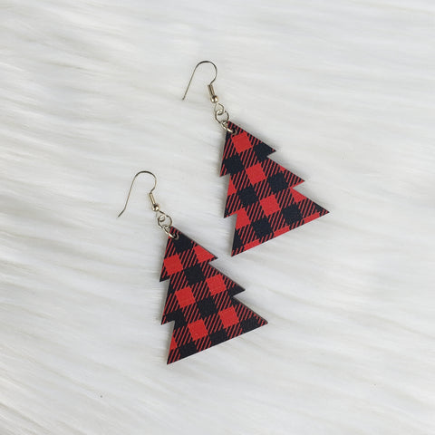 Red Buffalo Plaid Wooden Tree Earrings