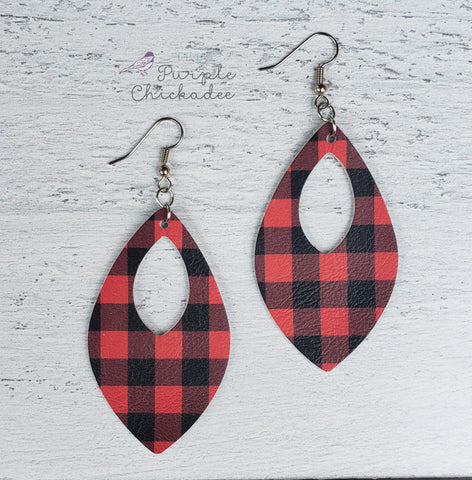 Buffalo Plaid Leather Open Teardrop Earrings
