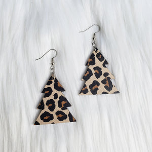 Leopard Print Wooden Tree Earrings