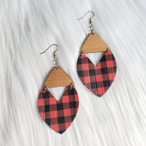Buffalo Plaid Fringe Wooden Earrings