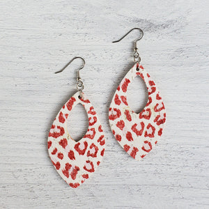Red Leopard Open Teardrop Leather Earrings