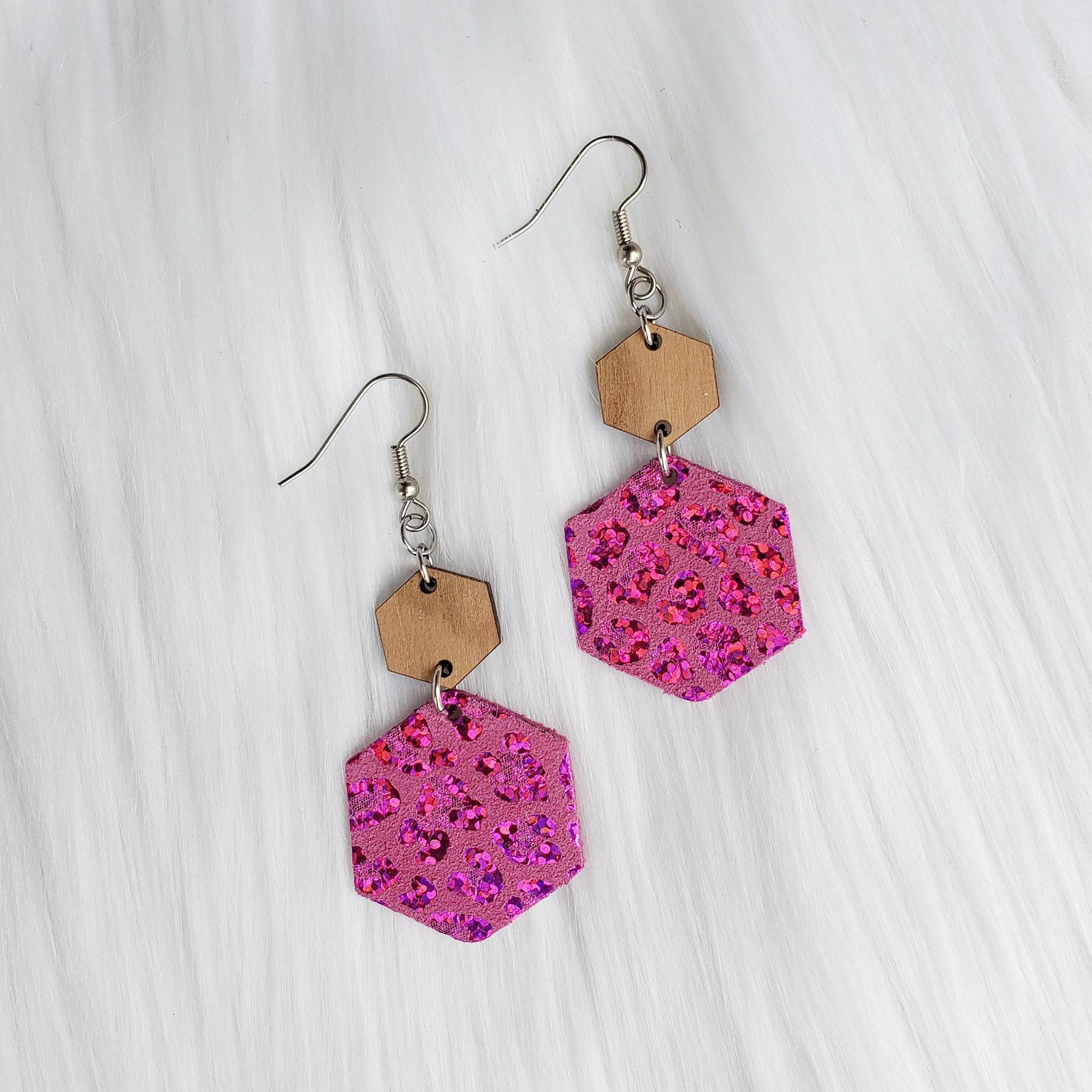 Pink Holographic Leopard Hexagon Leather Earrings