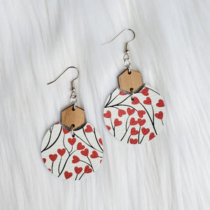 Trailing Hearts Semi Circle Leather Earrings