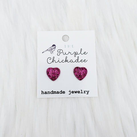 Magenta Glitter Heart Stud Earrings