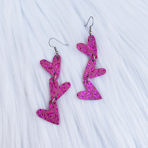 Pink Holographic Leopard Dainty Heart Leather Earrings