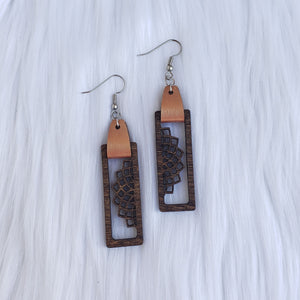 Walnut Stained Filigree Bar Dangle Earrings
