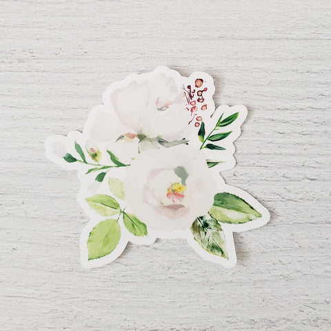 White Peony Bouquet Sticker