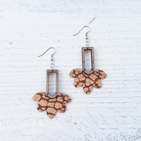 Rose Gold Leopard Scalloped Wood & Leather Earrings