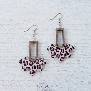 Pink Leopard Scalloped Wood & Leather Earrings