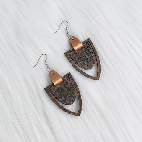 Walnut Stained Filigree Pointed Dangle Earrings