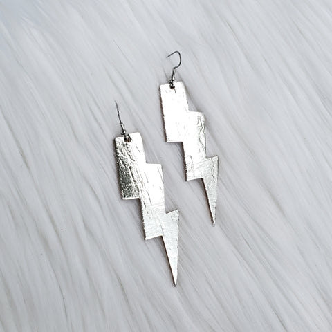 Metallic Silver Lightning Bolt Leather Earrings