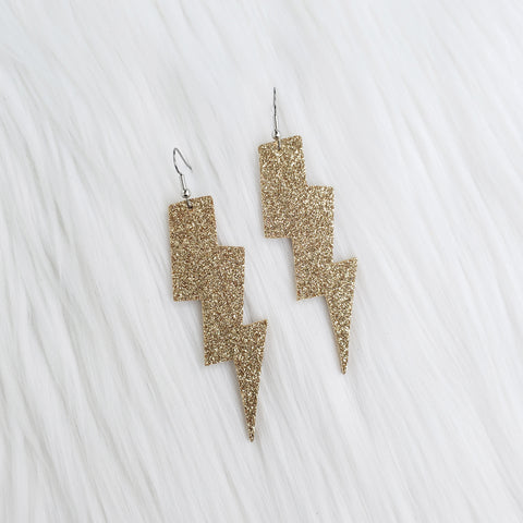 Gold Glitter Lightning Bolt Leather Earrings