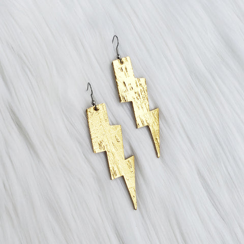 Metallic Gold Lightning Bolt Leather Earrings