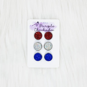 Iridescent Druzy Trios : Set of 3 12mm Studs - Red, White, & Blue