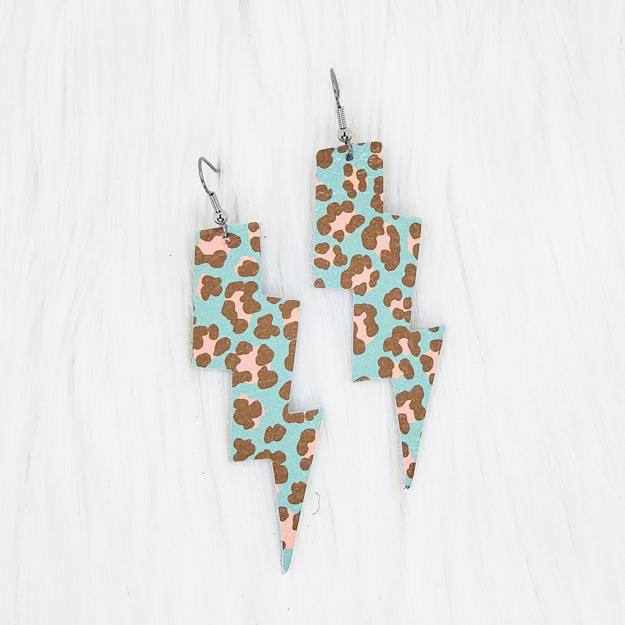 Mint & Pink Leopard Lightning Bolt Leather Earrings