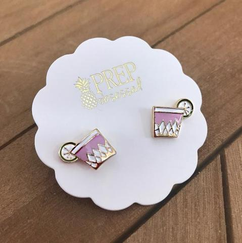 Pink Cocktail Stud Earrings