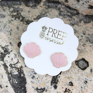 Pink Sea Shell Stud Earrings