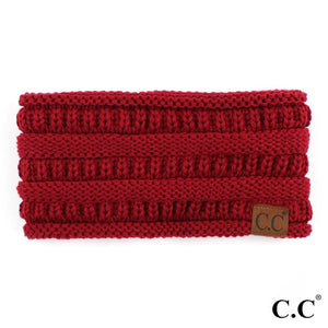 CC Knitted Ribbed Headband - Burgundy