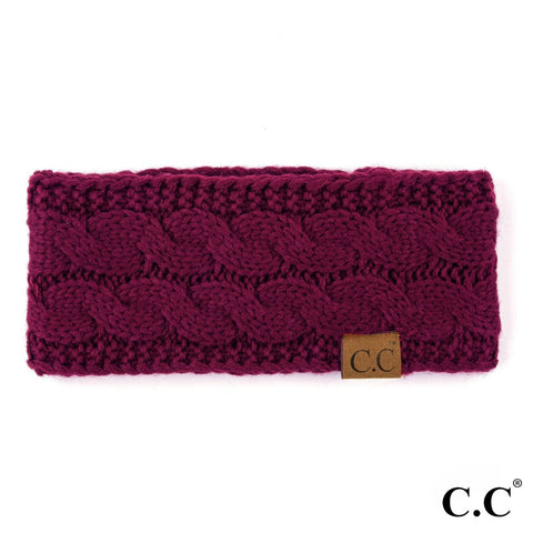 CC Knitted Headband - Burgundy