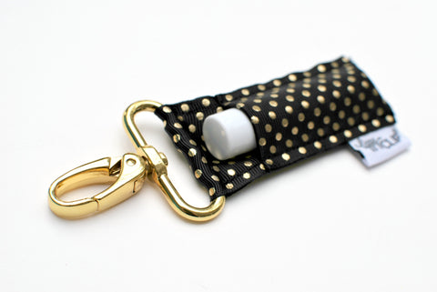 Black and Gold Dots LippyClip® Lip Balm Holder