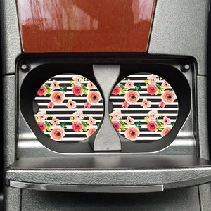 Striped Floral Car Coaster