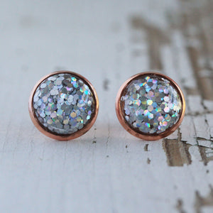 12mm Silver Holographic Glitter Stud Earrings Rose Gold Setting