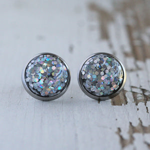 12mm Silver Holographic Glitter Stud Earrings